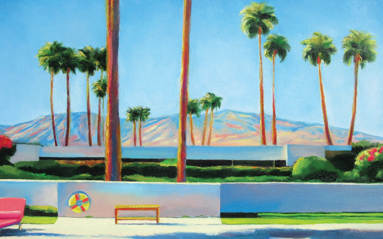 Wall art of California pool, palm trees and mountains by Ieva Baklane