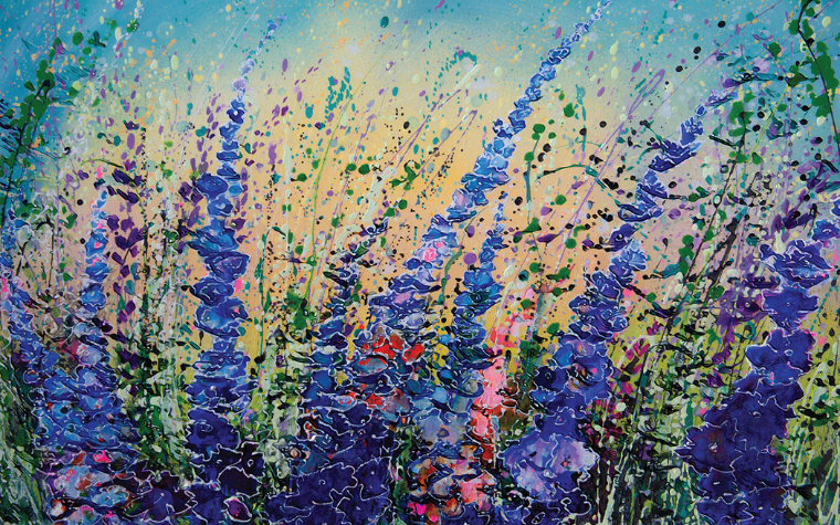 Oil painting of a lavender field by iCanvas artist OLena Art