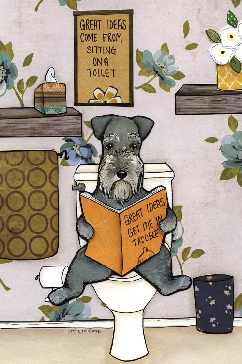 wall art of a schnauzer sitting on the toilet reading a book by iCanvas artist Jamie Morath