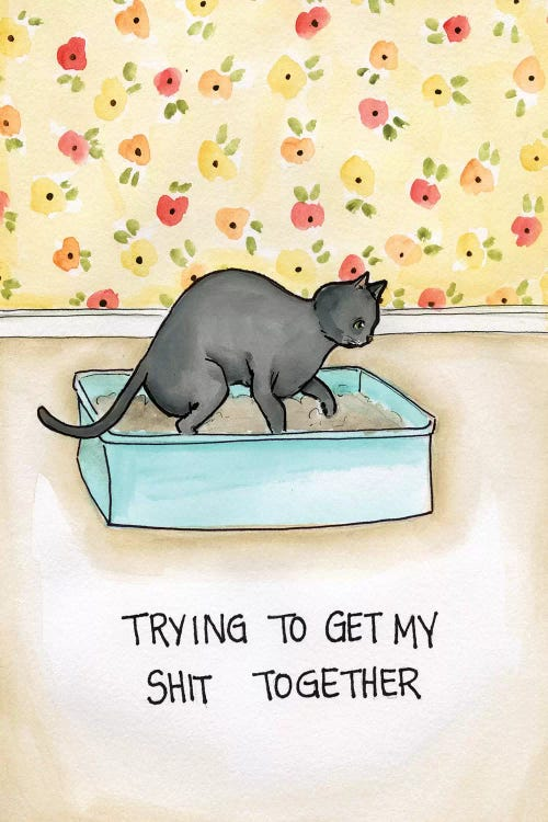 Wall art of a cat in a litter box with a floral background and the phrase trying to get my shit together by iCanvas artist Jamie Morath