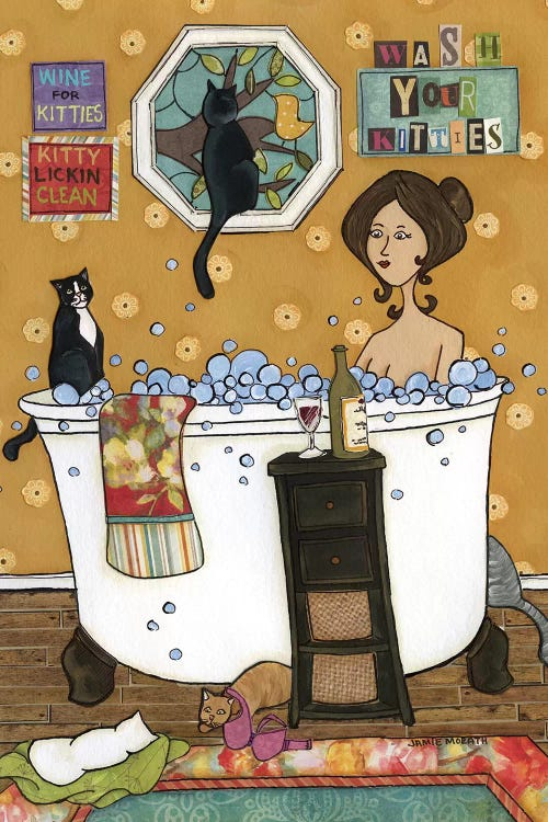 wall art of a woman in a bathtub with wine and surrounded by cats by iCanvas artist Jamie Morath