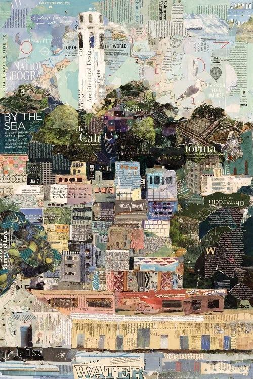 Newspaper collage of California by iCanvas artist Jamie Pavlich Walker