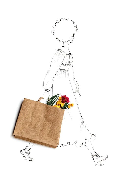 fashion illustration of a woman with a bag of flowers by iCanvas artist Kelly L Illustration