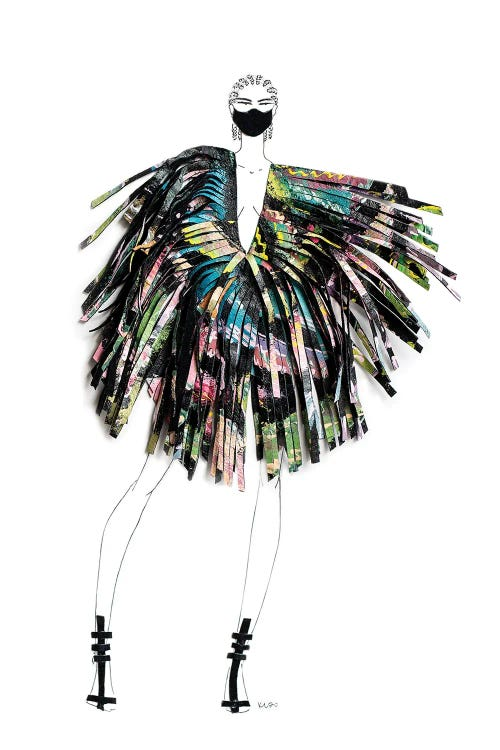 Fashion illustration of a woman wearing a colorful dress and a mask by iCanvas artist Kelly L Illustration