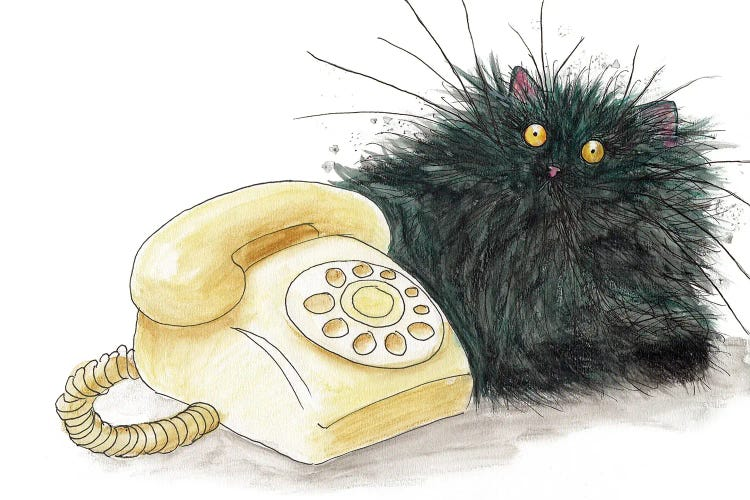 Wall art of a manic black cat next to a telephone by iCanvas artist Kim Haskins
