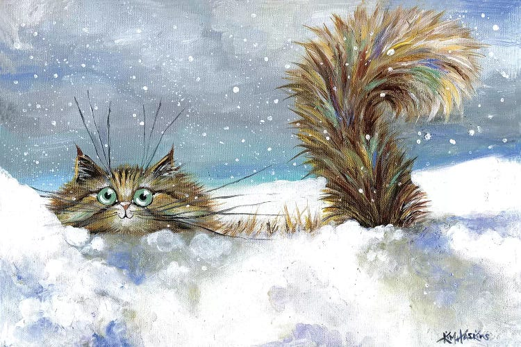 Wall art of a cute gray cat in the snow by iCanvas artist Kim Haskins