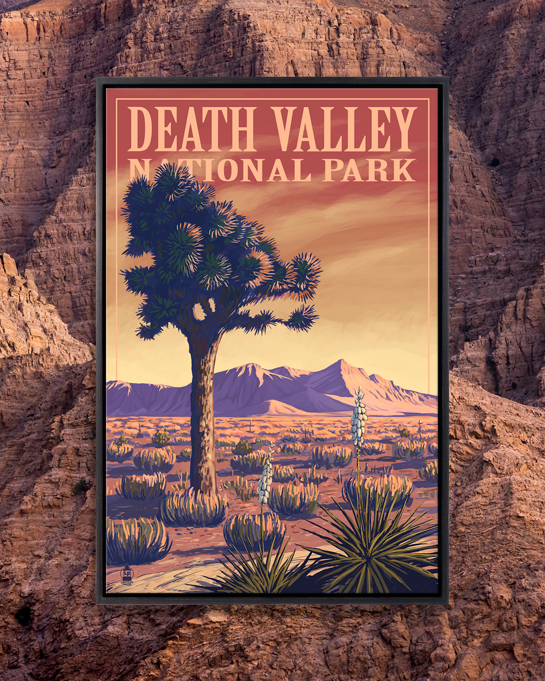 Wall art poster for Death Valley National park against a red rock background by Lantern Press