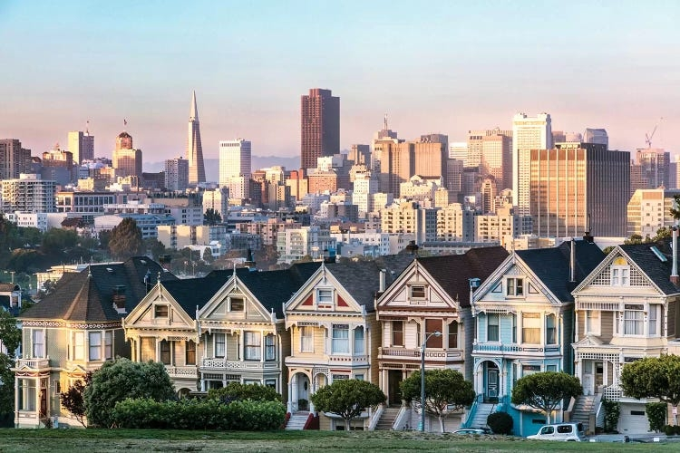 Photograph of painted ladies houses in San Francisco at sunset by iCanvas artist Matteo Colombo