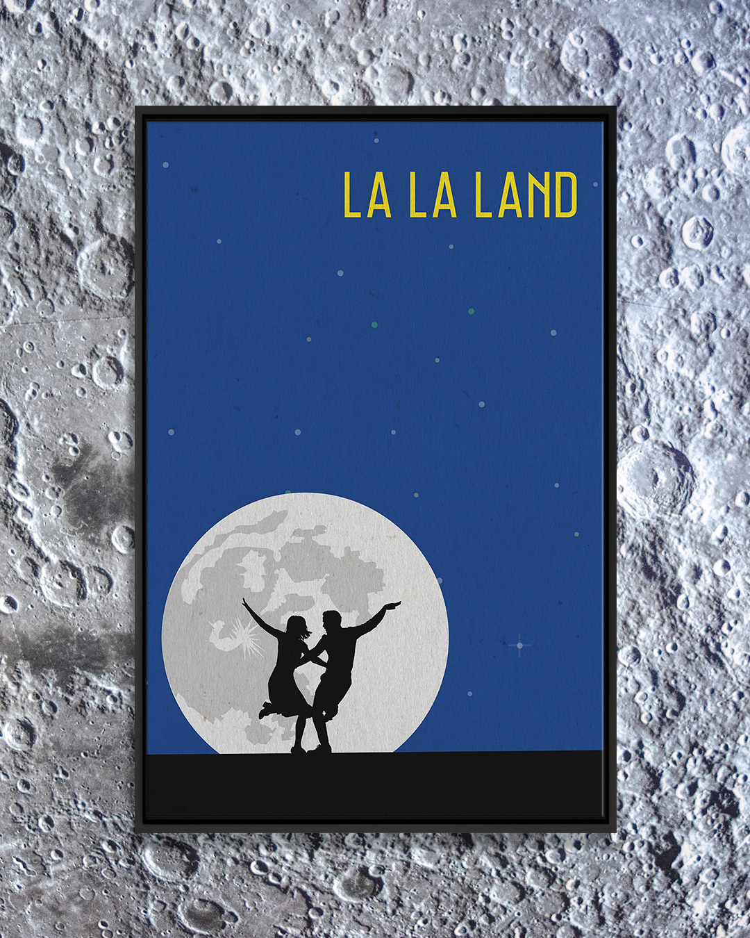 Wall art of La La Land movie poster against moon background by iCanvas artist Popate