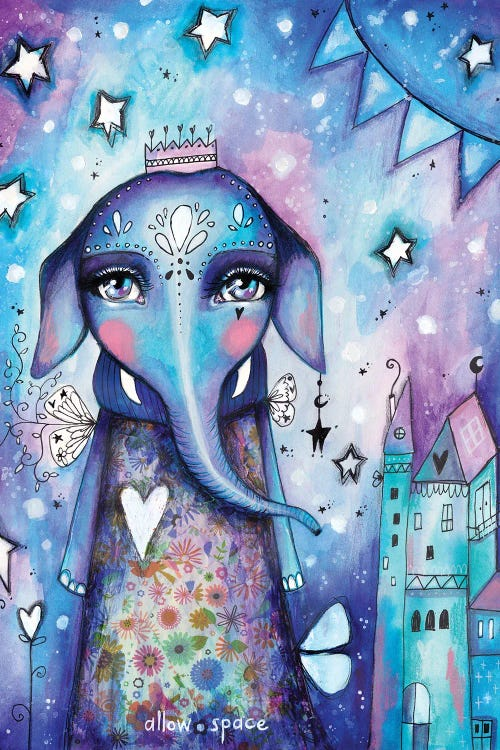 wall art of a blue and purple elephant queen in front of a castle by iCanvas artist Tamara Laporte