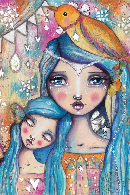Wall art of a mother and daughter with blue hair and birds and butterflies by iCanvas artist Tamara Laporte