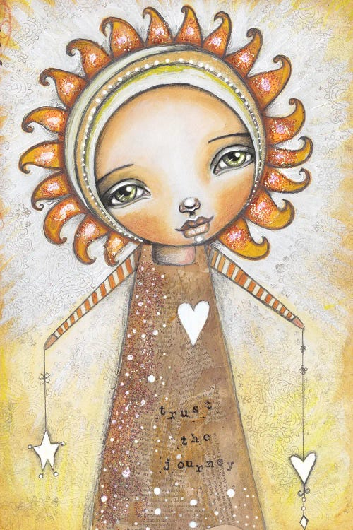 Yellow wall art of a girl with a sun shaped head by iCanvas artist Tamara Laporte