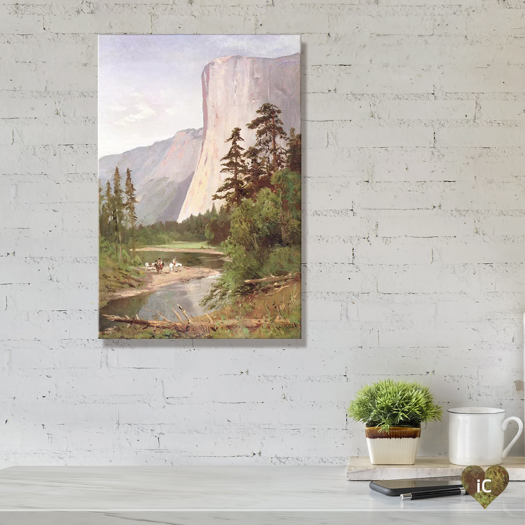 Desk with painting of El Capitan in Yosemite Valley by iCanvas artist William Keith