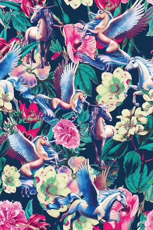 Wall art of a pink and green and blue floral motif featuring unicorns by iCanvas artist Burcu Korkmazyurek