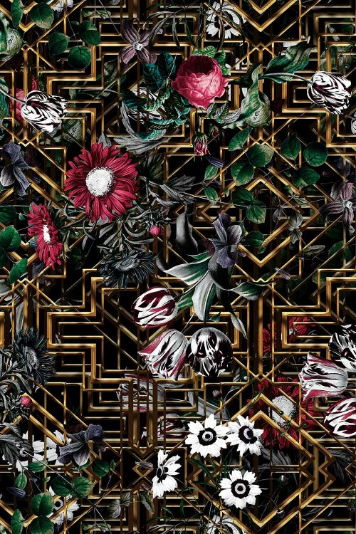 Wall art of black and gold pattern behind red and white flowers and green leaves by iCanvas artist Burcu Korkmazyurek