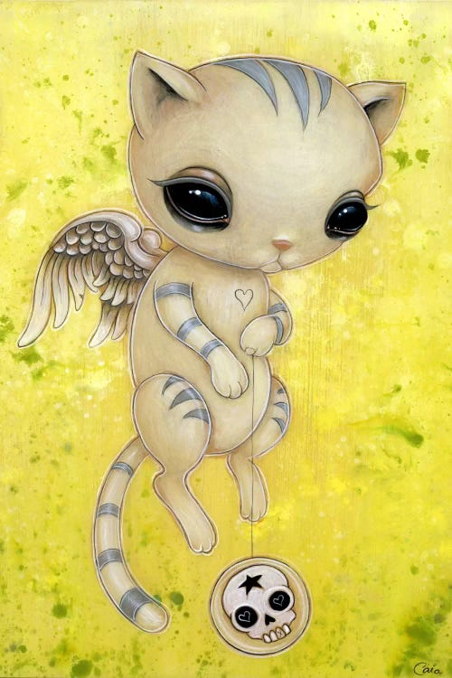 Wall art of a white kitten with gray stripes and angel wings holding a skull yoyo against yellow background by iCanvas artist Caia Koopman