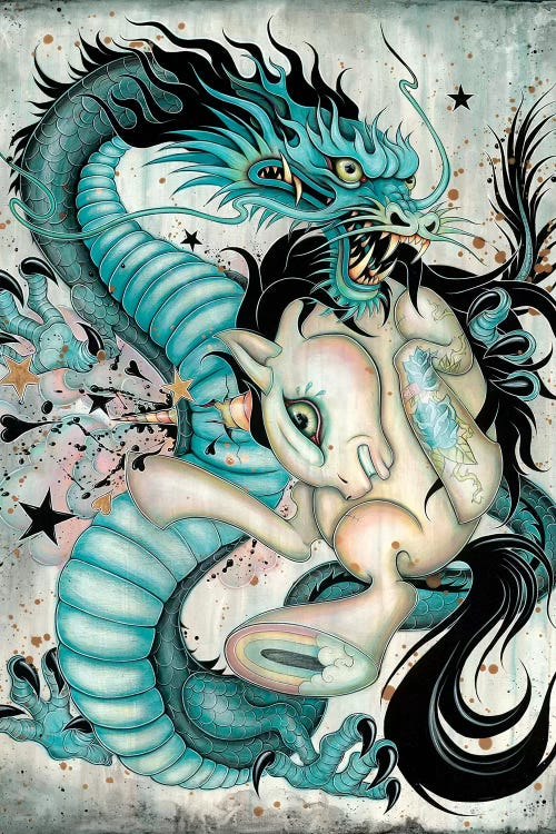 wall art of a blue dragon fighting a white pony by iCanvas artists Caia Koopman