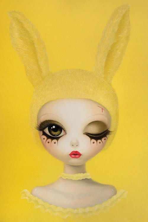 Yellow wall art of a woman wearing bunny ears by iCanvas artist Chen Hongzhu