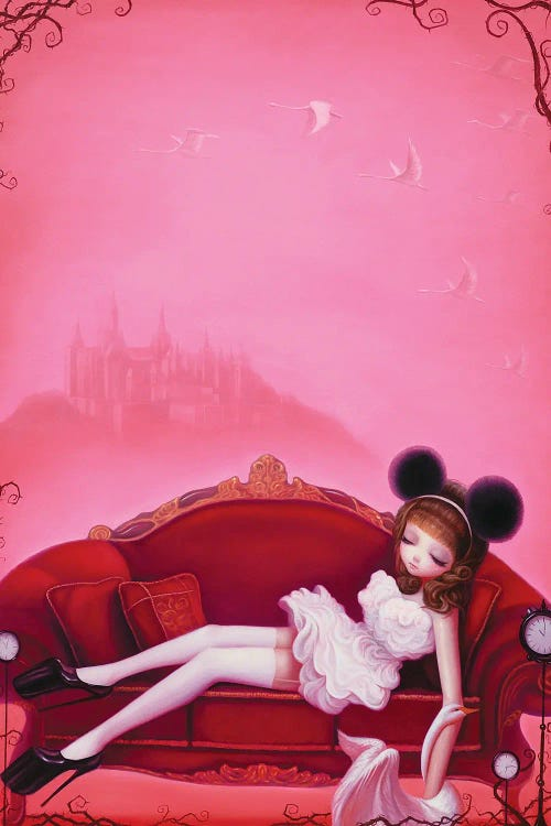 Pink wall art of woman with mouse ears laying on couch holding a swan by Chen Hongzhu