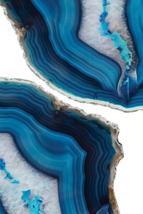 Wall art of two blue agates by iCanvas artist Emanuela Carratoni