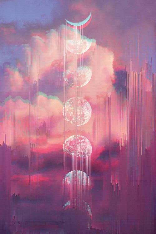 Wall art of a pink sky with a vertical moon cycle dripping down it by iCanvas artist Emanuela Carratoni