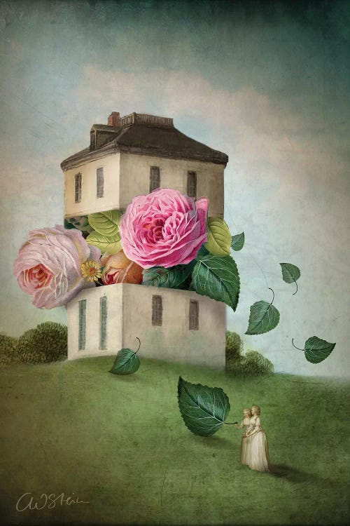 Wall art of a house with giant pink flowers and green leaves emerging from it and two small women watching by Catrin Welz-Stein