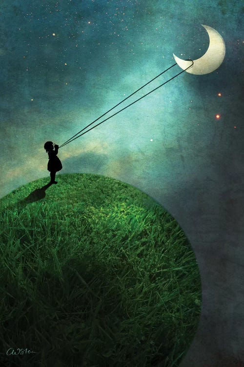 Wall art of a girl's silhouette lassoing a crescent moon by iCanvas artist Catrin Welz-Stein