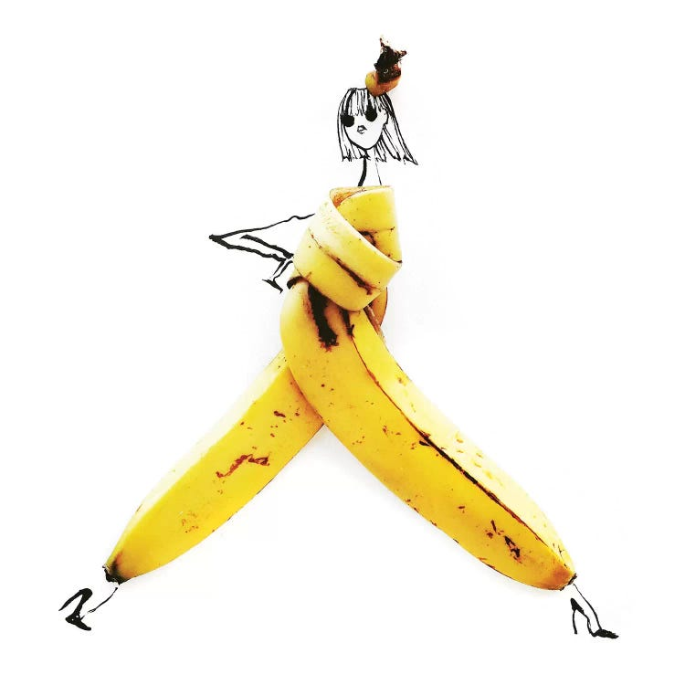 Fashion illustration of stick woman wearing a banana peel by female artist Gretchen Roehrs