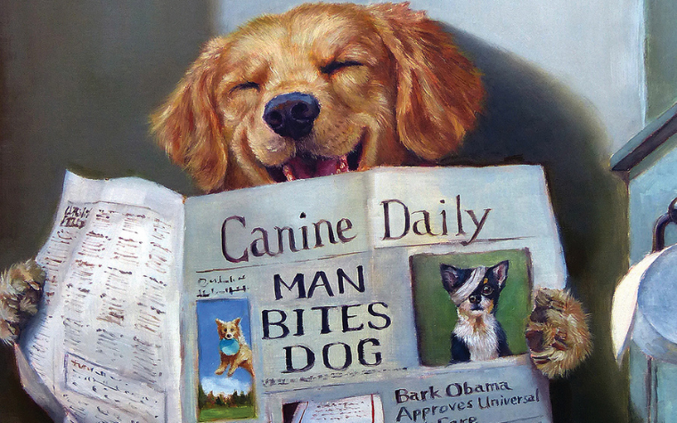 Illustration of a dog on the toilet reading the paper by iCanvas artist Lucia Heffernan