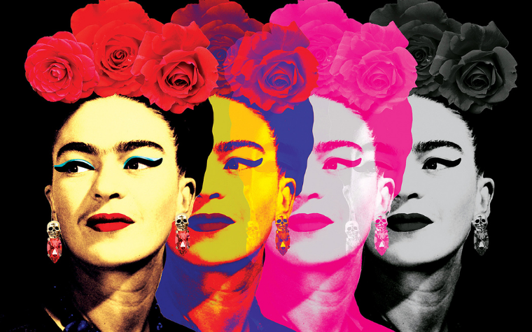 Wall art of four different colored images of Frida Kahlo