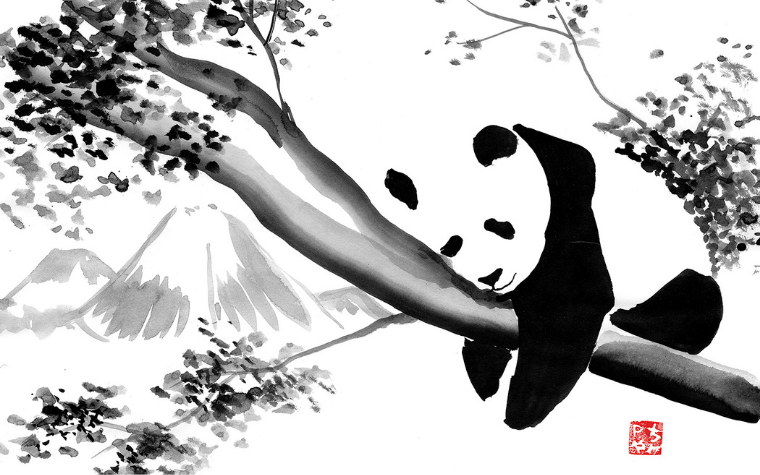 Black and white wall art of a panda hanging in a tree in front of mountain by Pechane