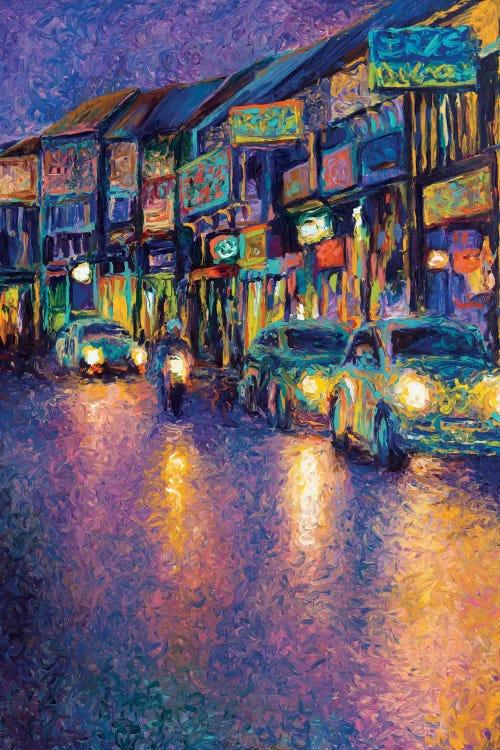 Oil painting of a Thai street by iCanvas artist Iris Scott