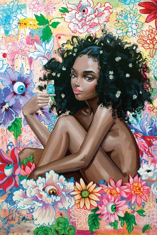 Wall art of a naked black woman with flowers in her natural hair and neon flowers around her by Julie Filipenko