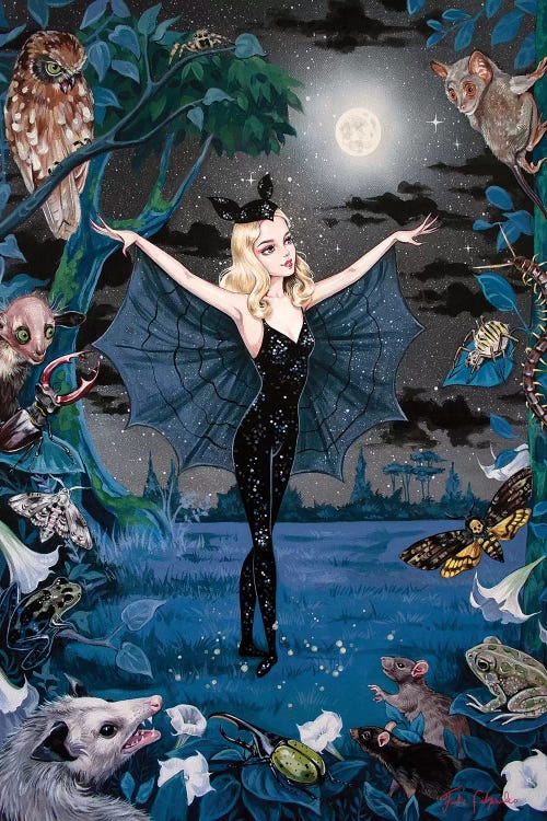 Wall art of a blonde girl in the night wearing black and bat wings looking at the moon surrounded by woodland creatures by Julie Filipenko