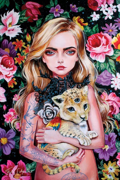 Wall art of a tattooed blonde woman holding a three eyed lion against a pink floral background by Julie Filipenko