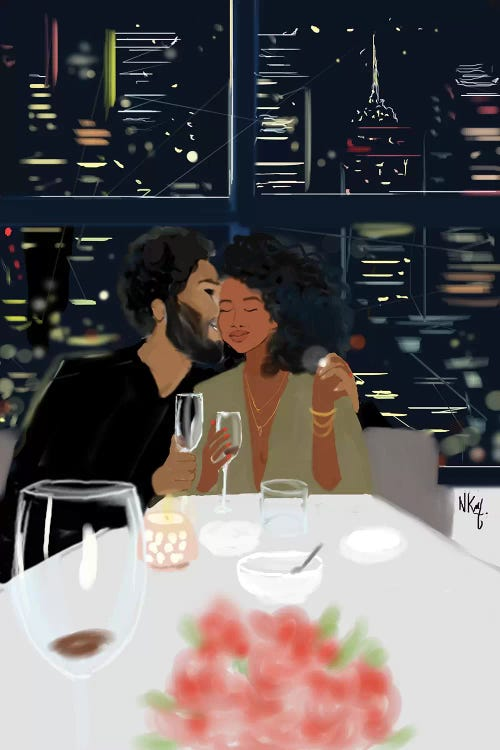 Wall art of a black couple out to dinner in the city by female artist Nicholle Kobi