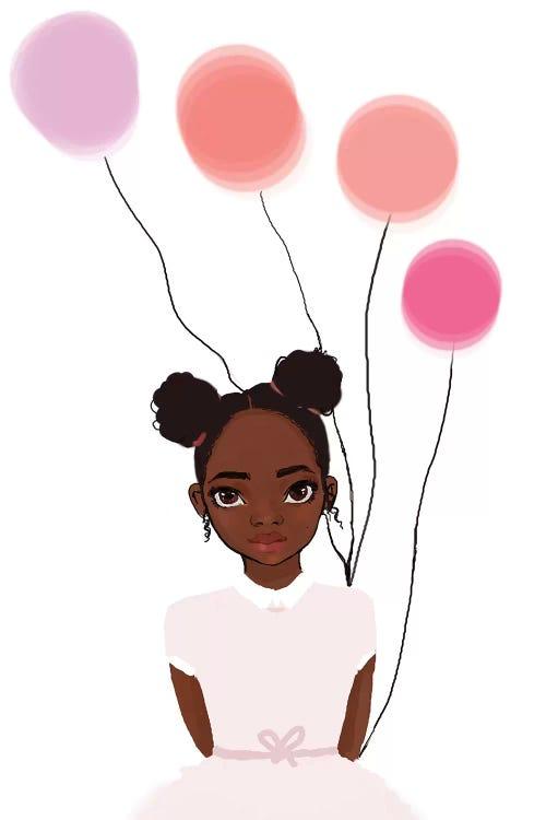 Illustration of Black girl in pink dress holding pink balloons by female artist Nicholle Kobi
