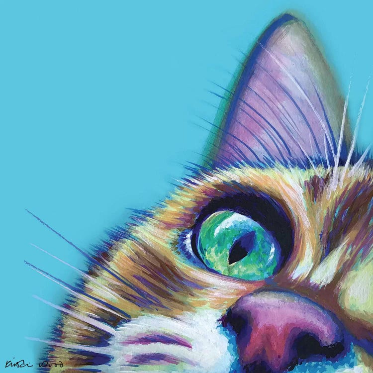 Portrait of a cat against turquoise background by iCanvas artist Kristin Wood