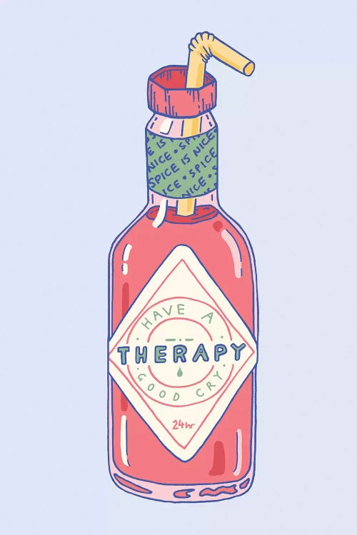 Minimalist wall art of a hot sauce bottle with a straw and a label saying have a good cry by Laura O'Connor