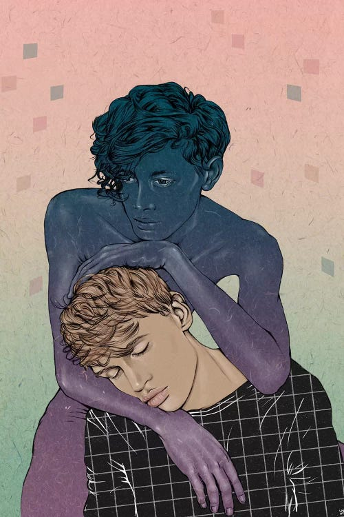 wall art of a blonde man being held by a shadowy man against a pink and green background by Laura O'Connor