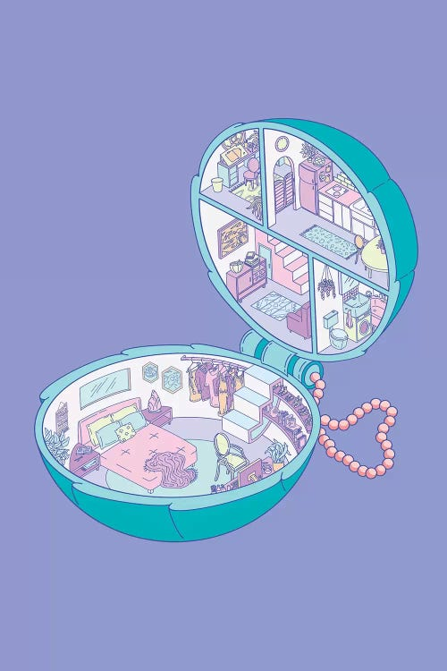 Wall art of a Polly Pocket house against a purple background by iCanvas artist Laura O'Connor