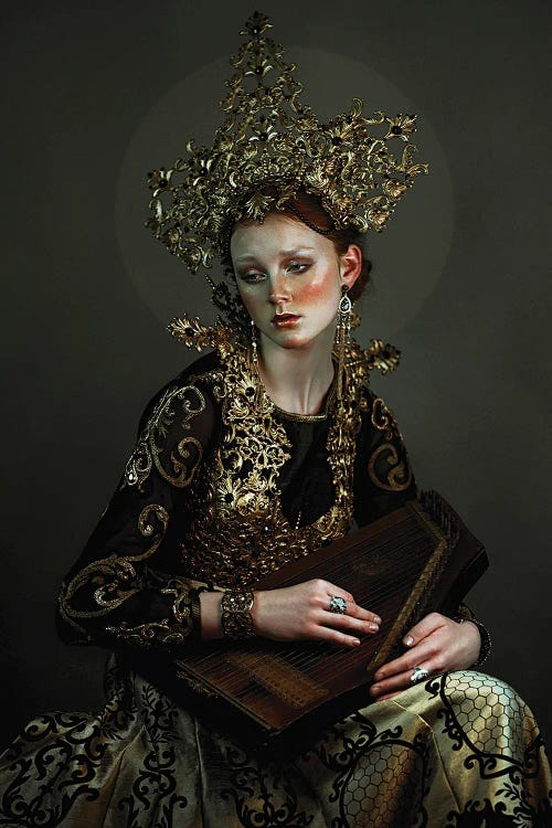Photography of a sad woman wearing ornate gold jewels and clothes by iCanvas artist Lillian Liu