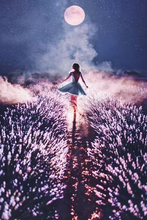 Photograph of woman dancing under moonlit sky by iCanvas female artist Hobopeeba