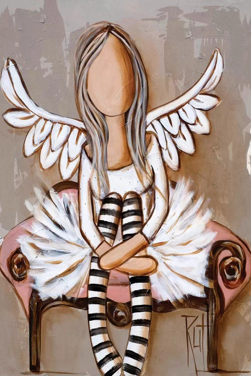 Wall art of a faceless angel wearing striped socks sitting on a chair by female artist Rut Art Creations