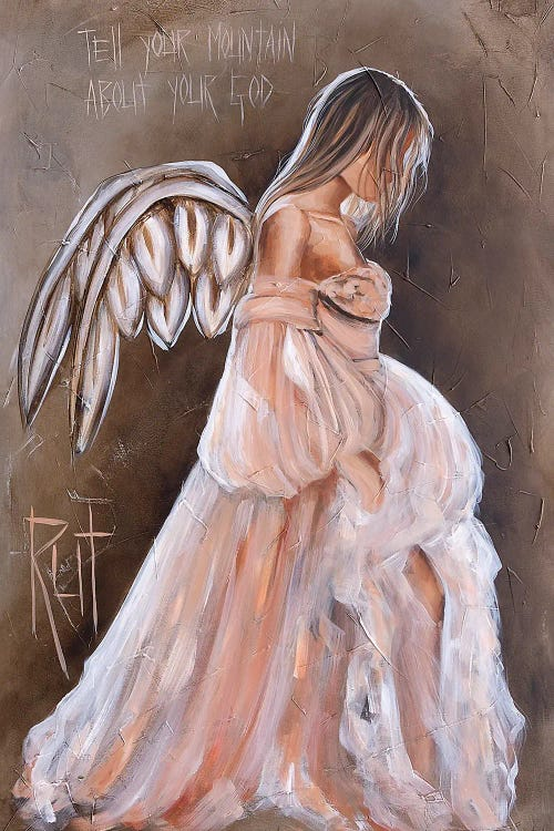 Wall art of a pregnant angel under spiritual quote by iCanvas female artist Rut Art Creations