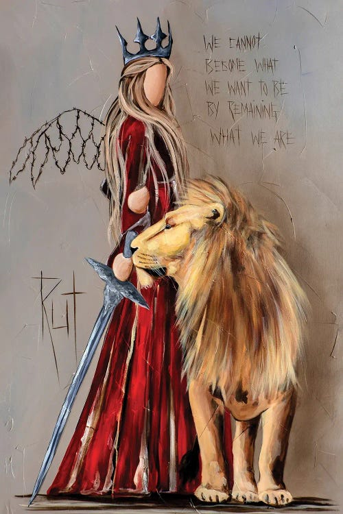 Wall art of faceless angel warrior in red dress standing by lion under motivational quote by Rut Art Creations