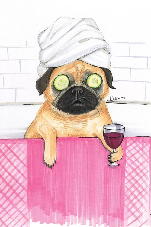 Illustration of a pug in a bathtub wearing a towel on its head, cucumbers on its eyes and holding a glass of wine by Rongrong DeVoe