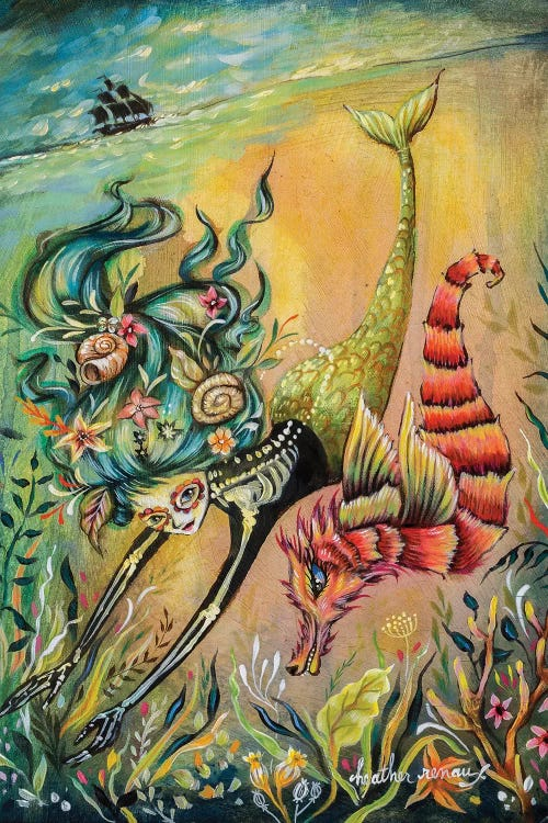 wall art of a sea creature and mermaid with blue hair diving under the sea below a ship by Heather Renaux