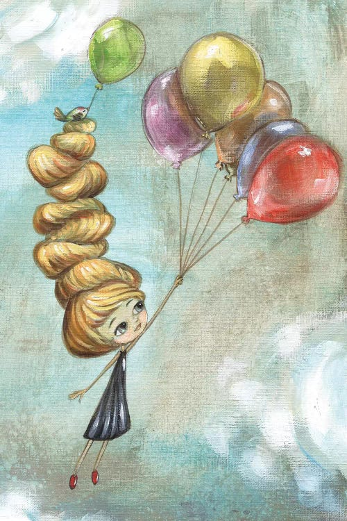 wall art of a little girl with tall blonde hair floating away holding onto balloons by iCanvas artist Heather Renaux