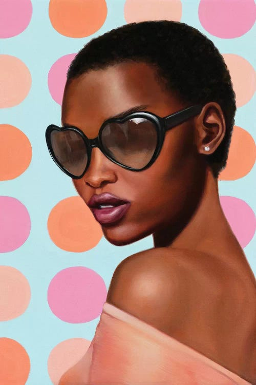 Portrait of black woman in heart sunglasses against pink polka dotted blue background by female artist Rose Morrison